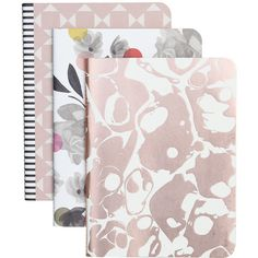 Caroline Gardner Rose Tinted Notebooks - Set of 3 (£10) ❤ liked on Polyvore featuring home, home decor, stationery, fillers, notebooks, accessories and pink