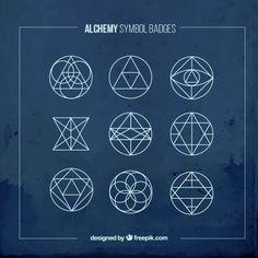symboles bleu alchimie badges Vecteur gratuit