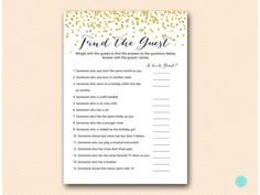 gold girl birthday party games who knows the birthday girl best