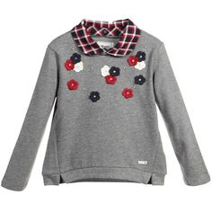 Girls very pretty grey sweatshirt by Mayoral Chic made from a mid-weight cotton jersey with a soft woven inside feel. With a relaxed fit it has pretty ivory, red and navy blue applique flowers on the front and subtle shimmer effect. The smart peter pan collar is fastened by buttons and can be taken off for a different look.   60% cotton, 40% polyester (soft sweatshirt jersey) Machine wash (30*C) Designer colour: Rose paste Small fitting with a relaxed ...