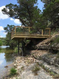 Deck Sloped Yard, Sloped Backyard, Small Backyard Pools, Backyard Patio Designs, Hillside Deck, Floating Deck, Hillside Landscaping, Outdoor Stairs, Lake Cottage