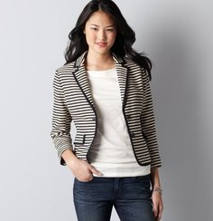 Navy, striped blazer.