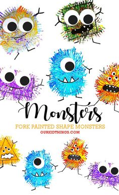 october crafts for kids These colorful, furry Fork Painted Monsters are perfect for the fall season, as a Halloween craft, but monster crafts are great any time of year. Fall Art Projects, Craft Projects For Kids, Toddler Art Projects, Fork Crafts, Plate Crafts, Decoration Creche, Kindergarten Art Projects, Art Projects For Kindergarteners, Art For Preschoolers