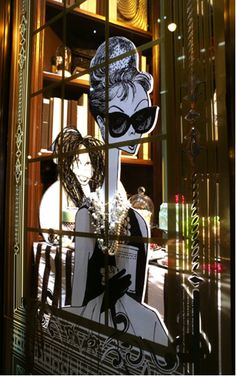 Al Hirschfeld Enters The 3rd-Dimension: Portrait of Audrey Hepburn Now in the Windows of Henri Bendel in NYC