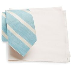 Tallia Orange Striped Tie and Pocket Square Set ($20) ❤ liked on Polyvore featuring men's fashion, men's accessories, mint and mens tie accessories