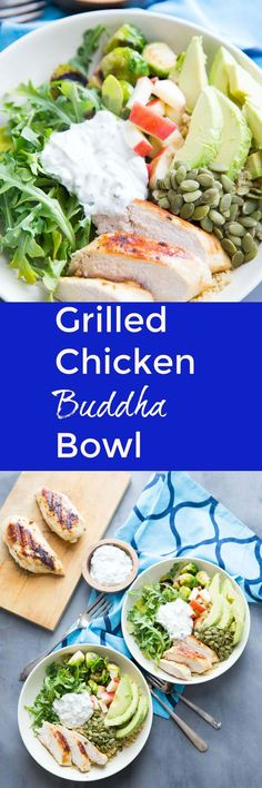This Buddha Bowl is so delicious, you won't care how good it is for you!  Grilled chicken, quinoa green veggies and nuts are served with a homemade green goddess dressing that is out of this world!