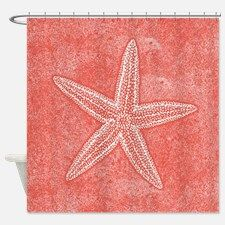 Coral Pink Starfish Shower Curtain for
