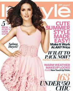 Who made Salma Hayek's jewelry, pink dress, and tie belt that she wore on the cover of Instyle magazine? Salma Hayek, Summer Haircuts, Summer Hairstyles, Revista Instyle, Alexander Mcqueen Dresses, Instyle Magazine, Cosmopolitan Magazine, Celebrity Kids, Celebrity Photos