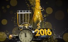 Image 2016, happy new year, golden, champagne, clock, new year, champagne, bottle, glasses, watches