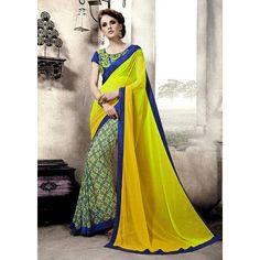 Fancy Yellow Weightless Georgette Half Half Saree