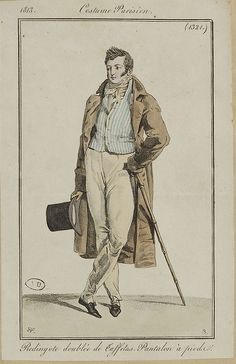 Blue striped waistcoat - period illustration