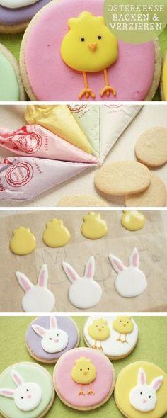 Rezept für Ostern: Bunte Kekse mit Ostermotiv backen, Küken und Hasen / sweet easter cookies via http://DaWanda.com