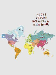 *Producto estrella, no admite descuento. Pega este mapa autoadherente en su pared y después coloca (y mueve) los pequeños imanes donde quieras. ¡Los niños se van a divertir! br / DIMENSIONES: Alto 58 cm, largo 93 cm.Mapa del mundo en 2 partes. 25 imanes de 4 tamaños diferentes ;