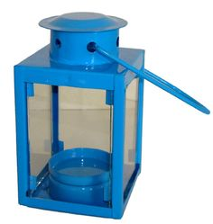 "Decorative Small Candle Lantern Blue 4.5"" Height  Base: 2.37 x 2.37 Inches  Lantern height: 4.5 Inches (cover to bottom)  Overall height: 7.9 Inches (handle to bottom)  Candle is not included  Regular Price : $2.98"