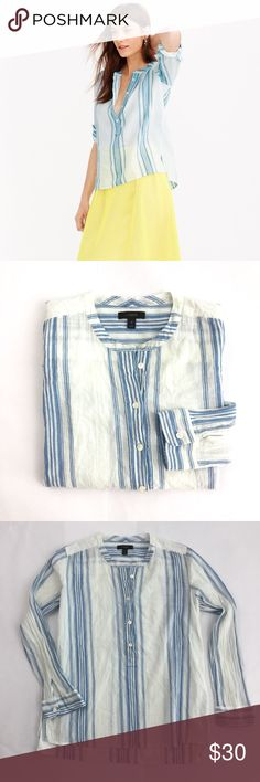 J. CREW Collarless Popover Shirt Seashore Stripe S Adorable breezy blouse from J. Crew. Gently Preowned with no stains, no holes, no fading. Size small. Bundle and save! J. Crew Tops Blouses
