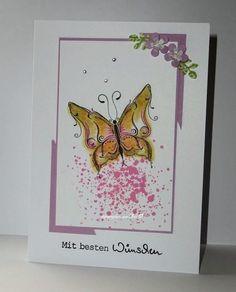 Stempel: Karten-Kunst Kombi Set Wünsche, Splatters Art und Schnörkel-Schmetterlinge #Karten-Kunst #cardmaking #stempel #stamping #Schmetterlinge Blog, Cover, Homemade Cards, Stamping, Card Crafts, Kunst, Blogging