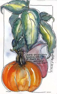 Pumpkin watercolor by Jane LaFazio