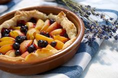 Apricot Almond Tart with Blackcurrants and Lavender Syrup