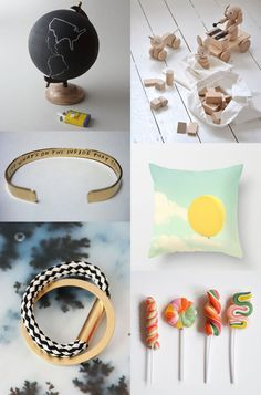 {1. globe found via this tumblr blog 2. wooden bunnies 3. what's inside bracelet 4. yellow balloon pilow 5. fauxreal bracelet 6. twisty lolliepops } It's the little things in life .... I have had a very rough 24 hour...