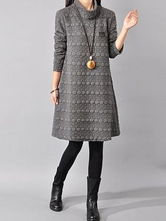 High Neck Plain Embossed Shift Dress - Winter Outfits for Work Legging Outfits, Sweater Outfits, Mode Chic, Winter Outfits Women, Ladies Outfits, Outfits 2016, Work Outfits, Ladies Dress Design, Cheap Dresses