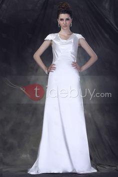 シース/カラムドレープショートスリーブ床まで長さスイープウエディングドレス