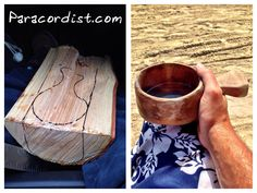 """http://www.paracordist.com First drink from my hand made birch Kuksa It was a piece of firewood last month, now it's a cup full of tequila on the beach :). Hand tools only - hatchet and knife, coals from campfires to burn out the inside and sandpaper to finish. It's made from birch and actually called a """"Kuksa"""". #preppertalk #Preppers #survivalist #bushcraft #paracord #550cord #paracordist #preparedness #camping #hiking"""
