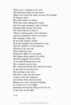 """""""The Attic"""" I'm not sure when I wrote this one, but I just rediscovered it."""