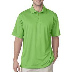 Men's Cool & Dry Jacquard Stripe Polo. 100% Polyester, 5 oz…
