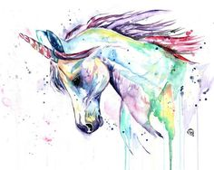 Unicorn art, Unicorn Print, Unicorn watercolour, little girls room, nursery art, princess decor, princess nursery, unicorn nursery