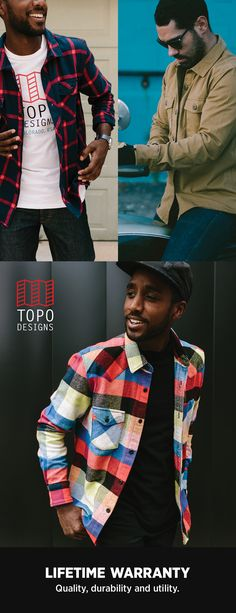 Shop men's casual shirts for Fall from Topo Designs. $89-$129. Custom plaids and new solid button downs, all with a lifetime guarantee.