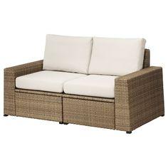 SOLLERÖN modular sofa, outdoor Brown/frösön/duvholmen beige 161 x 82 x 88 cm - IKEA