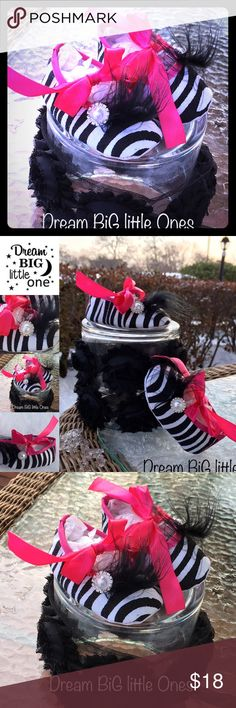 New Baby Girl Gift 1st Shoes Zebra Marabou Shower Welcome to our baby boutique! ~Dream BIG little Ones ~ a children's boutique by the sea... • 1 pair of handmade baby crib shoes • Condition is brand new, all items from Dream BiG little Ones Boutique storefront • Boutique Quality! • Makes a perfect Baby Shower Gift • Perfect keepsake! • Unique vintage inspired style • Size 0-6 months Best offers considered ~ don't be shy! Please see our other items Free Gift Box, upon request Dream BiG Shoes…