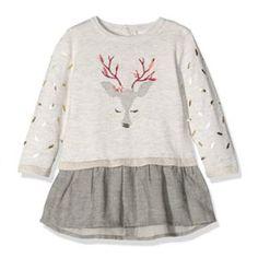 Vestido gris elegante para bebé con ciervo de Catimini.  modainfantil   modabebe  ropabebé  outfitbebé  Navidad de717297e1ca