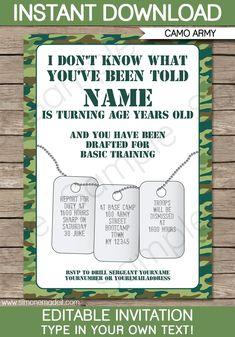 Camo Invitations | Army Birthday Party | Boot Camp | Editable DIY Theme Template | INSTANT DOWNLOAD $7.50 via SIMONEmadeit.com