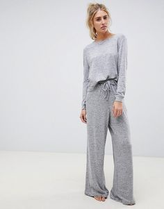 Find the best selection of ASOS DESIGN mix & match lounge super soft brushed wide leg. Shop today with free delivery and returns (Ts&Cs apply) with ASOS! Lounge Outfit, Lounge Wear, Mix Match, Pyjamas, Loungewear Outfits, Night Dress For Women, Mode Hijab, Wide Leg Trousers, Nightwear