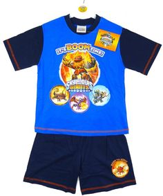 Boys Skylanders Giants Boom Time T-Shirt Top & Shorts Pyjamas Set 4 to 10 Years: Amazon.co.uk: Clothing