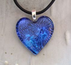 Heart Necklace, Dichroic Pendant, Cobalt Blue | MyFusedGlass - Jewelry on ArtFire