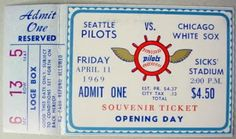 Seattle Pilots 1969 Opening Day Ticket