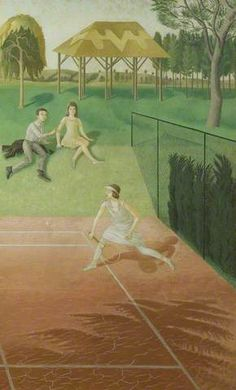 'Tennis' door panel by Eric Ravilious for the Music Room in Sir Geoffrey Fry's Portman Court flat