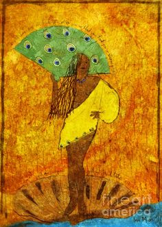 Oshun Santeria Goddess of Love Drawing - Oshun Santeria Goddess of Love Fine Art Print - Ina Mar
