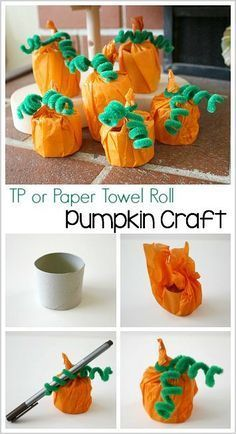 Halloween and Fall Crafts for Kids: Tissue Paper Pumpkins using cardboard tubes or empty tp rolls. Make a cute decoration or treat holder for… (Halloween Art And Crafts For Kids) Paper Towel Crafts, Paper Towel Rolls, Toilet Paper Roll Crafts, Towel Paper, Autumn Crafts, Thanksgiving Crafts, Holiday Crafts, Winter Craft, Toddler Crafts