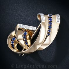 Retro Sapphire and Diamond Brooch - 50-1-4548 - Lang Antiques