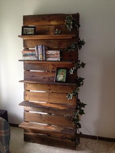A repurposed bookshelf made from pallets