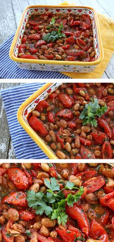 Roasted Summer Tomatoes & Beans - An easy side dish or vegetarian option to make during tomato season from Italian Food Forever. #summerrecipes #vegetarian