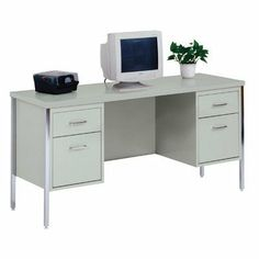 """60"""" W Kneespace Credenza Desk/Top Color: Gray/Gray by Sandusky Cabinets. $484.99. CD6020-GY Desk/Top Color: Gray/Gray Features: -Credenza.-Two pedestals with file drawer and box drawer.-Ships assembled except legs and handles.-Keyboard tray an optional addition. Dimensions: -Overall dimensions: 29.5'' H x 60'' W x 20'' D."""