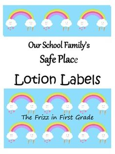 These+four+labels+can+be+used+to+help+manage+your+classroom!++Print,+cut,+and+glue+these+labels+onto+any+bottle+of+lotion.++I+place+these+lotions+in+my+Safe+Place+for+students+to+use+when+they+are+feeling+upset.++Labels+included+are+Cranky+Cream,+Focus+Formula,+Kindness+Cream,+and+Boo+Boo+Lotion.