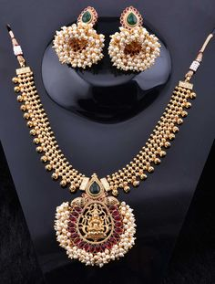 Temple Jewelry Necklace Set with Pearls and Stones