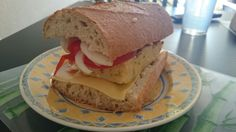 Homemade potato omelette sandwich