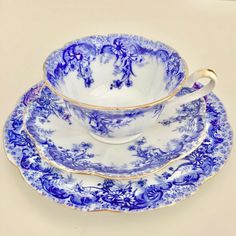 Antique Wileman teacup trio in blue and white - Ferns Border pattern 6897 in flow blue on Century shape, 1895 - Late 19th century porcelain teacup, saucer, plate - Fine china teacup