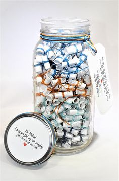 365 Message Filled 64 oz Mason Jar Personalized Multi-Colored